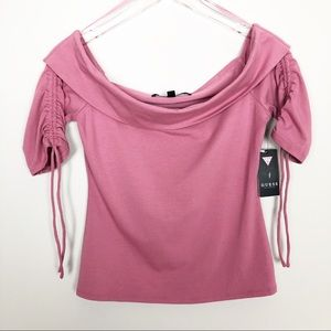 GUESS Womens Off Shoulder Enzo Top